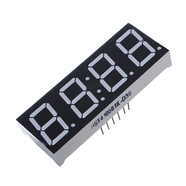 "LED DISPLAY 4X7 SEG. TIPO RELOJ ANODO COMUN 0.56"" 14PIN COLOR ROJO"