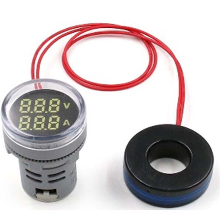 VOLTIMETRO-AMPERIMETRO DOBLE FUNCION COLOR ROJO AC12-500V / 0-100AMP.