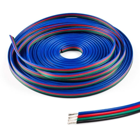 CABLE CINTA PLANA 4 VIAS DE COLORES RGB+POWER PARA LAS TIRAS DE LED RGB