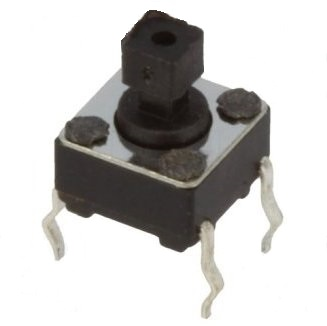 (L:7MM) DC12V-50MA PULSADOR TACTO 6X6MM 4 PATILLAS TETON CUADRADO