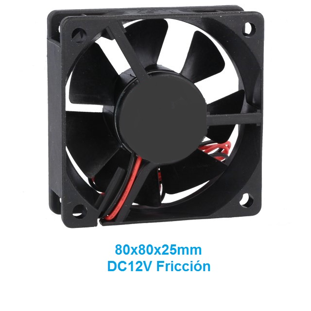 80X80X25MM DC12V VENTILADOR FRICCION